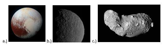 вопрос теста Сопоставьте названия малых небесных тел и их изображение